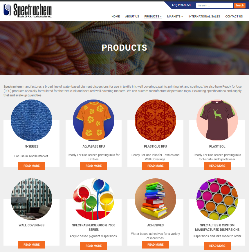 Plastisol screen printing and textile inks by Spectrachem